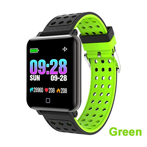 FANZIFAN Intelligente Uhr Smart Watch Fitness Tracker Blutdruck Bluetooth Uhr Smart Watch Stepper Herzfrequenzmesser Sportband, Silikon Band grün