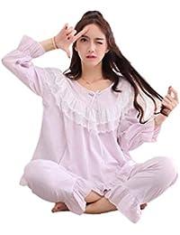 6a28fee7 Mujer Conjunto De Pijama Primavera Otoño Informales Elegantes Ropa para El  Hogar Ropa De Dormir Manga Larga Cuello Redondo Anchas…
