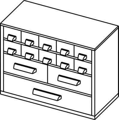 Schubladenmagazin – HxB 238 x 306 mm, 13 Schubladen – tiefschwarz – Klarsichtmagazin Kleinteilemagazin Lagersystem Magazin Schubladenmagazin