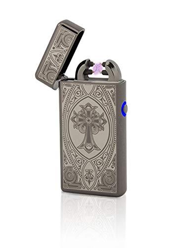 TESLA Lighter T08 Lichtbogen Feuerzeug, Plasma Double-Arc, elektronisch wiederaufladbar, aufladbar mit Strom per USB, ohne Gas und Benzin, mit Ladekabel, in Edler Geschenkverpackung, Kreuz Schwarz