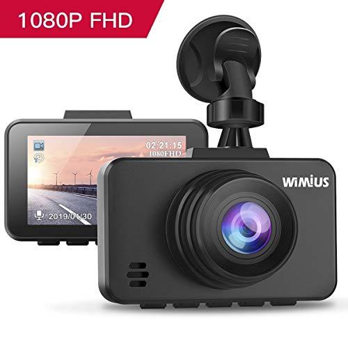 Caméra Embarquée Voiture, WIMIUS DashCam Voiture Enregistreur de Conduite Full HD 1080P 2.45' LCD, 170°Grand Angle, G-Capteur, WDR, Détection de Mouvement, Moniteur de Stationnement