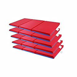 ECR4Kids 3-Section Folding Rest Mat, 48 x 24 x 1', Blue/Red, 5-Pack
