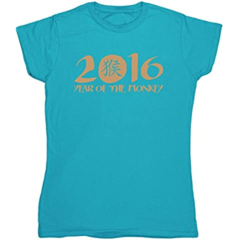 HippoWarehouse 2016 Anno of the Scimmia Simbolo Cinese vestibilità da donna t-shirt manica corta