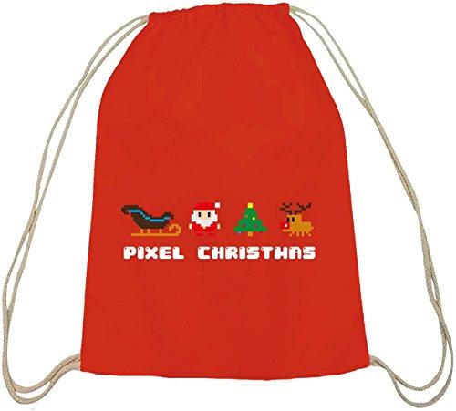 Pixel Christmas, Weihnachten Winter Baumwoll natur Turnbeutel Rucksack Sport Beutel Rot Natur