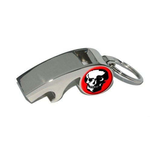 Preisvergleich Produktbild Totenkopf-rot-Trillerpfeife Metall Flaschenöffner Schlüsselanhänger