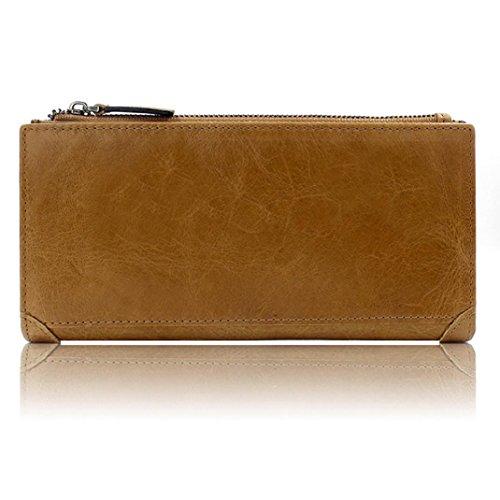 WOCACHI Herren Geldbörsen Männer echtes Leder Mappen Leder-Kredit / ID-Kartenhalter Geldbeutel Reißverschluss Mappe (A-Gelb) Braun