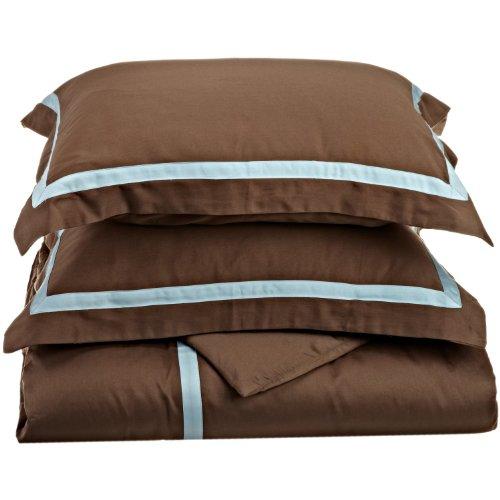 enzahl 100% Baumwolle, Hotel Collection, 1-lagig, Full/Queen Bettbezug Set, schwarz mit grau, baumwolle, Mocha/Sky Blue, Twin/Twin XL (Bettbezug Queen Baumwolle Schwarz)