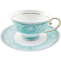 ACOOME - Set di Tazze da tè e caffè con piattino, Tea Cup China, Bel Regalo,in Porcellana Bone China, 200ml, 1 x Tazza, 1 x piattino