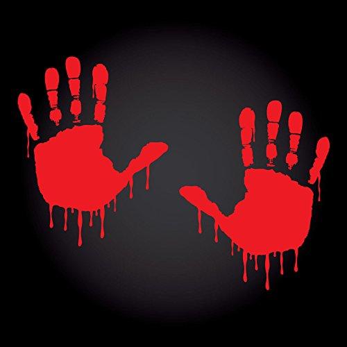 2 x Bloody Hands Aufkleber je 10,5 cm x 13,3 cm JDM OEM Tuning Sticker Decal Blutige Hände Horror Blut Handabdruck 30 Farben zur Auswahl