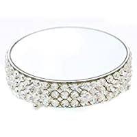 12 Inch Crystals Cake Stand Round Plate Metal Dessert Cupcake Pedestal Display Baking Display Tray Plate Tools Accessories for Wedding Party Birthday