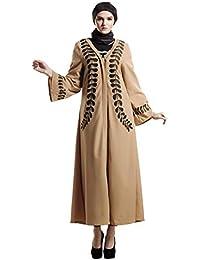 810ee5c844 Kimono Musulman,Femmes Dentelle Avant Abaya Robe Musulmane Vintage Imprimé  Grande Taille Femme Maxi Kaftan