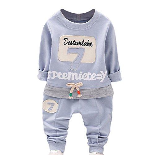 Neugeborenen Bekleidung Set Unisex Baby Longra Baby Hosen & Top Sets für Mädchen Jungen nette Langarmshirts Sweatshirts+Lang Hosen 2018 Kinder Letter Sports Kleidung (90-100CM 2Jahre, Blue) (3t-jungen Blazer)