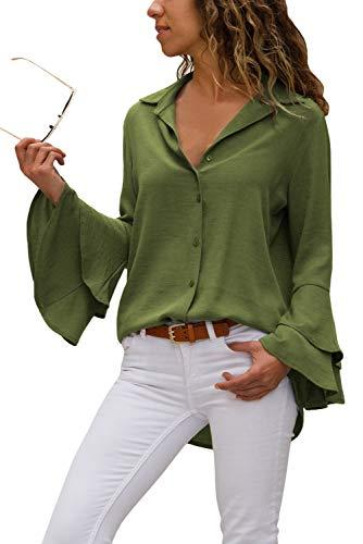 Aleumdr Damen Bluse V-Ausschnitt Langarm Casual Sommer Shirts Tunika Übergroße mit Lange Ärmel und Frauen Top Oberteile vorne kurz hinten lang S
