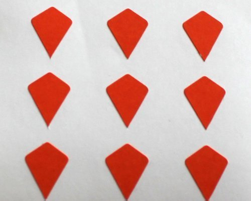 150 Etiquetas, 10x7mm Forma Cometa, Naranja, pegatinas autoadhesivas, Minilabel Formas