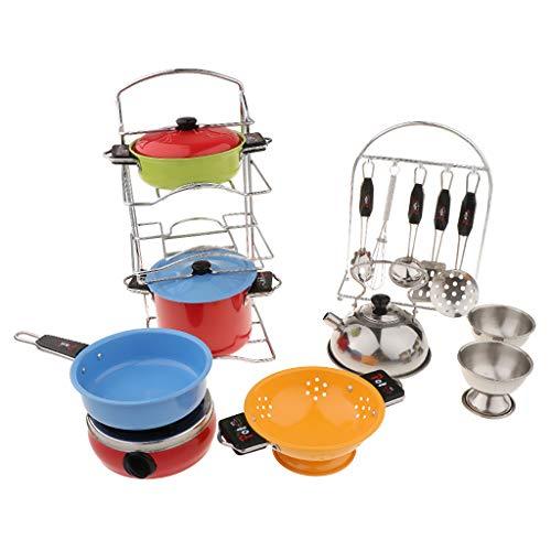 F Fityle Kinder Kochset inkl. Topf + Gasherd + Bratpfanne + Besteck und andere Zubehör, aus Metall - Stil C (Metall Bratpfannen)