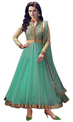 Great Indian Sale anarkali suits for women party wear Clothing Banglori Silk Fabric Salwar Suit Dupatta ( Rangel greenASS , Turquoise , Free Size )