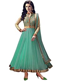 Rensila Women's Turquoise & Beige Color Banglori Silk & Net Fabric Anarkali Salwar Suit