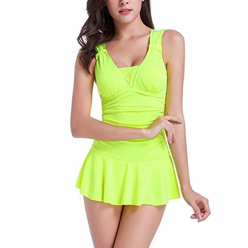 JIAJIA Damen Badeanzug, Einfarbig Mehrfarbig Mehrfarbig Gelb - Gelb