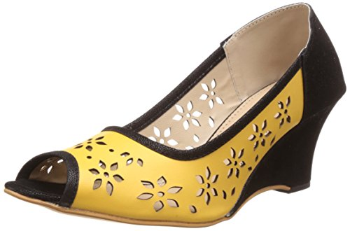 Nell Women's Yellow wedges  - 6 UK/India (39 EU)(RK-1606 Yellow)  available at amazon for Rs.385