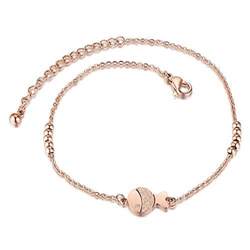 Onefeart Edelstahl Fußkettchen Für Damen Mädchen Bracele 9mm Fisch Ball 23CM+5CM Erweiterte Kette Rose Gold (Gold Fisch Schuhe)