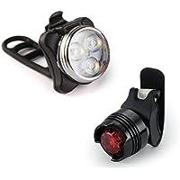 Koly Luz recargable de la bici del LED Conjunto de lámpara de bicicleta Front Light Tail Light USB (Negro, 25.5 *16*3cm)