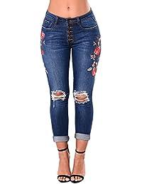 2018 WINWINTOM Jeans Crayon Crayon Brodé Jeans Aux Femmes Jeans éLastique Brodé Petit Coin  Maigre Pantalon Slim