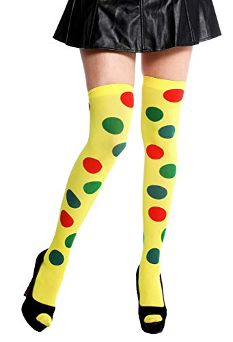dressmeup K0817 Strümpfe Damenstrümpfe Overknees Halloween Karneval Clown gelb Punkte bunt Polka Dots