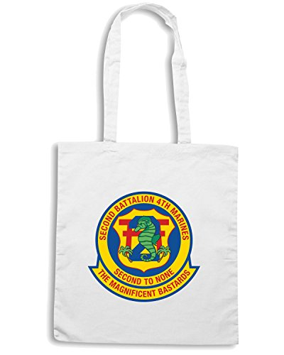T-Shirtshock - Borsa Shopping TM0319 2nd Battalion 4th Marine Regiment USMC usa Bianco