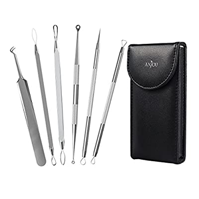 Anjou Blackhead Remover Kit Tool 6-in-1 Curved Tweezers Comedone Extractor Pimple Acne Whitehead Removal Antibacterial with Ergonomic Design