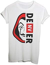 T-Shirt Casa di Carta Maschera Dalì con Nome Personaggio, Scegli Il Tuo – Denver – Serie