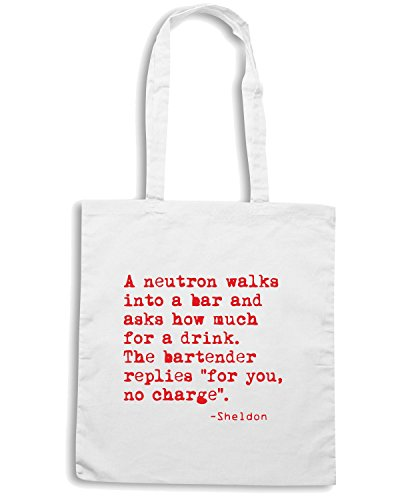 T-Shirtshock - Borsa Shopping OLDENG00004 a neutron walks into a bar Bianco