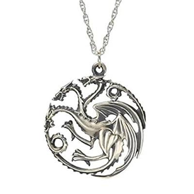 Charm Buddy Game of Thrones House GOT Daenerys Targaryen Khaleesi 3 Dragon Sigel Pendant Necklace