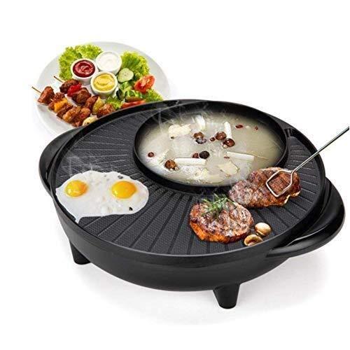 KTYXDE Barbecue Heißen Topf, Dual-Control-Schalter Induktionsherd, Antihaft-Doppel-Topf-Reiskocher Elektrischen Grill Elektrische Backform Elektrogrill