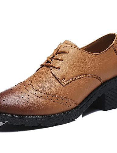 ZQ Scarpe Donna - Scarpe col tacco - Tempo libero / Casual / Sportivo - Comoda - Basso - Di pelle - Nero / Blu , brown-us8.5 / eu39 / uk6.5 / cn40 , brown-us8.5 / eu39 / uk6.5 / cn40 blue-us6.5-7 / eu37 / uk4.5-5 / cn37