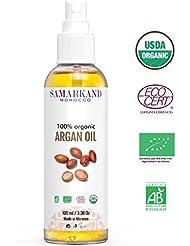 Huile d'argan BIO 100% Pure Certifié ECOCERT & USDA de Première Pression à Froid Pour Corps et Cheveux - L'original du Maroc (100 ml)
