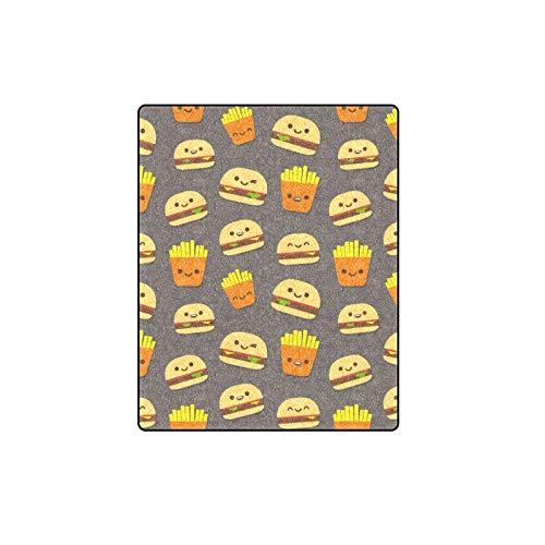 Rtosd Hamburger Cartoon Cute Decor Benutzerdefinierte Winter Leichte Komfortable Pelz Fuzzy Super Soft Fleece Couch Sofa Und Bett Decke Für Baby Frauen Größe 40x50 Zoll