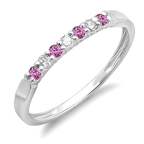 DazzlingRock Collection  -  10 K Weißgold Rundschliff Getöntes Weiß/Top Cape (K) pink/rosa Diamant Pinkfarbener Saphir