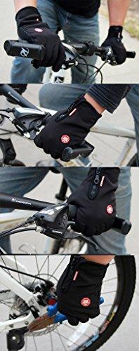 iCreat Touchscreen Handschuhe Damen / Herren Warme Fahrradhandschuhe Winddicht Wasserdicht Herbst Winter Schwarz, Größe M - 6
