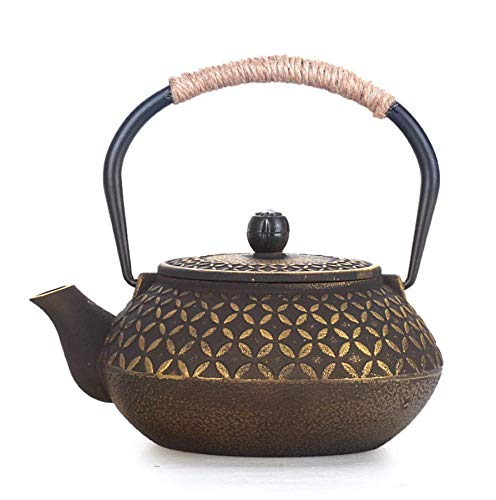 ROKTONG Classic Chinese Style Cast Kungfu Tea Iron Kettle Tetsubin Teapot with Strainer 600ML Tea Cooking Tools Gifts Household Products Tetsubin Cast