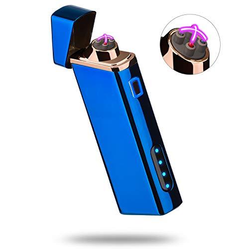 Accendino Elettrico, Accendino al Plasma Accendino Antivento Accendino USB Ricaricabile con Indicatore della Batteria - Senza Butano, Blu