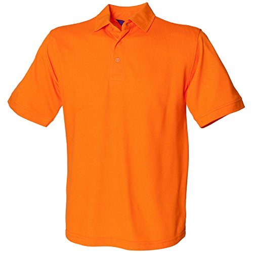 Henbury Herren komfortable Fit Stand-Up Collar Short Sleeved-Poloshirt 65/35 (DE) Orange - Orange