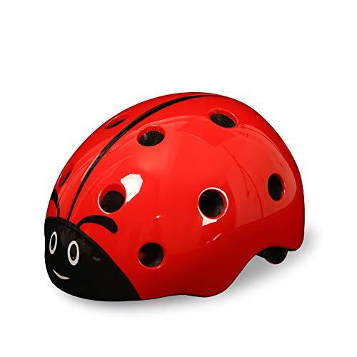 JLCP Kinderhelme, 3D-Marienkäfer Fahrradschutzhelm mit abnehmbarem Futter Verstellbarer Ski Mountainbike-Roller Skating Multi-Sport-Sicherheitsschutzausrüstung,Red