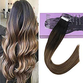 Vesunny extension adesive capelli veri, 40 cm 20pcs/50g extension bioadesive capelli veri shatush -balayage extension biadesivo 1b/7/12# balayage nero con marrone