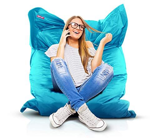 Roomox Original Sitzsack-120x160cm-für drinnen & draußen XXL Sitzsack, Stoff, Hellblau, 160x120x30 cm