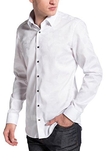 Eterna Long Sleeve Shirt Slim Fit Jacquard Patterned Bianco