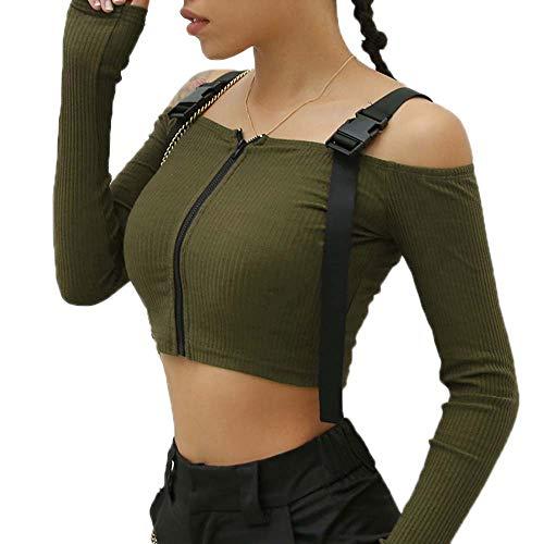 One-shoulder Knit Top (hellomiko Damen Zipper Knit Short Navel Crop Tops Schnalle Riemendesign Schulterfrei Langarm Strickhemd)