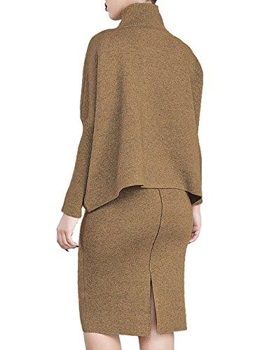 Autunno e Inverno Donna Vestito Maglieria da Manica Lunga Slim Abito da Moda Tubino Poncho e Mantelle da Pullover Dress Marrone