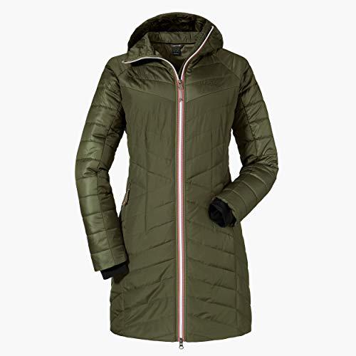 Schöffel Damen Thermo Coat Orleans warme Thermojacke Kapuze und Steppmuster, komfortabler Mantel mit 2-Wege-Reißverschluss, deep depths, 42 (L)