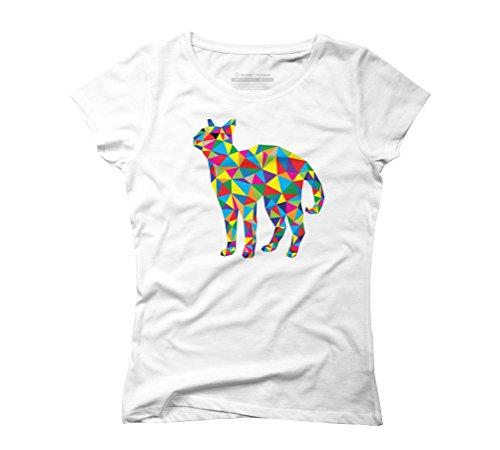 Geometric Cat Women's Graphic T-Shirt - Design By Humans White