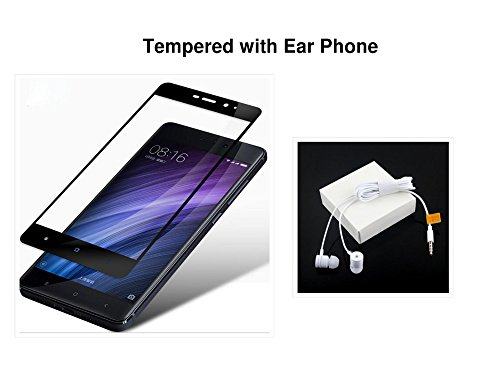 GKG HAS REDMI NOTE 4 BLACK TEMPERED ORIGINAL GLASS HD CURVED FREE WITH MI EAR PHONE